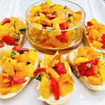 Sweet Bell Pepper Bruschetta - Colorful bell peppers are marinated with olive oil, white balsamic vinegar, capers, and Italian flat-leaf parsley for a quick and easy appetizer perfect for entertaining.