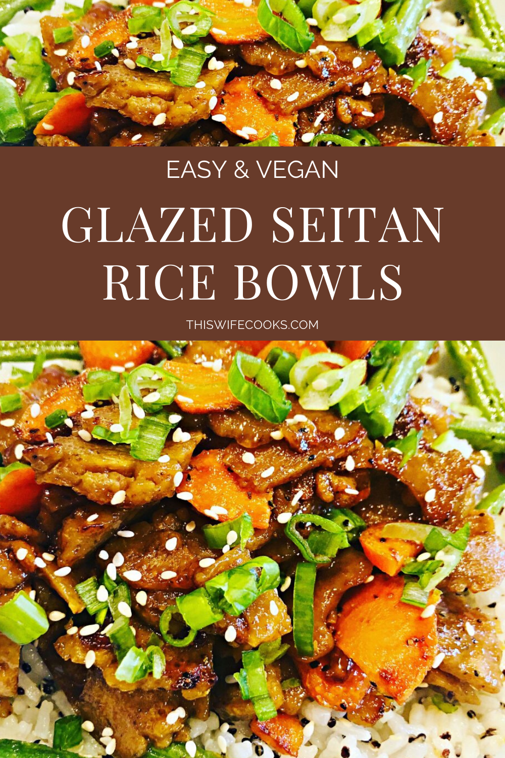 Apricot Glazed Seitan Rice Bowls - An easy and flavorful plant-based dinner that you can have on the table in about 30 minutes!