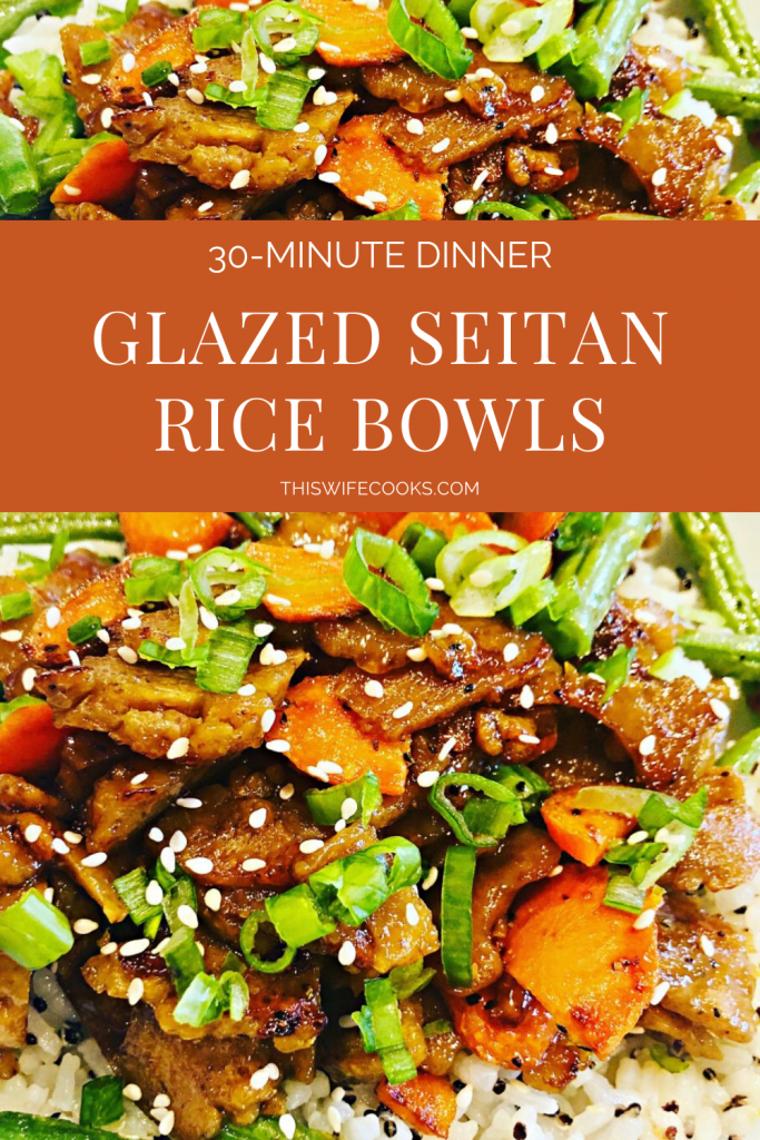 Apricot Glazed Seitan Rice Bowls - An easy and flavorful plant-based dinner that you can have on the table in about 30 minutes! #seitanrecipes #vegandinnereasy #vegatarianricebowl #thiswifecooksrecipes #easydinnerrecipes #veganricebowl