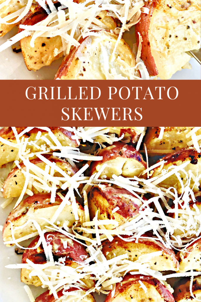 Grilled baby red potato skewers - An easy side dish recipe perfect for everyday grilling to 4th of July, Memorial Day, and Labor Day cookouts.