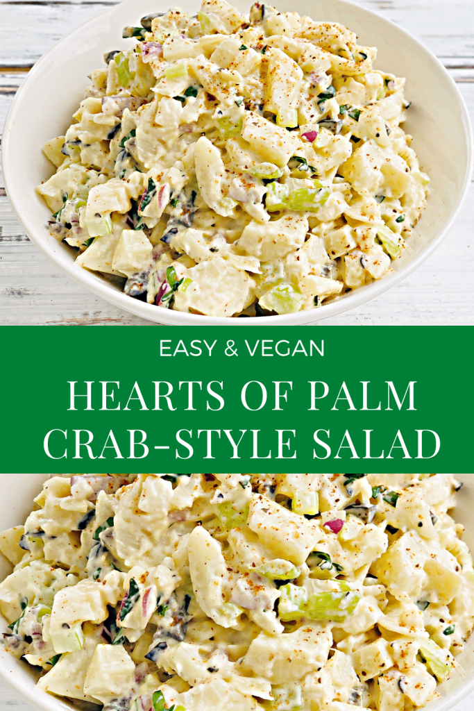 Hearts of Palm Crab-Style Salad - An easy recipe for a plant-based version of crab salad. Hearts of palm, crisp celery, red onions, black olives, and seasonings are combined with a creamy dressing for a salad that is ready in minutes. Perfect for a light lunch or snack.