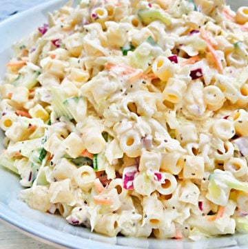 Coleslaw Pasta Salad - An easy, make-ahead side dish recipe perfect for backyard barbecues, potlucks, and holiday gatherings!