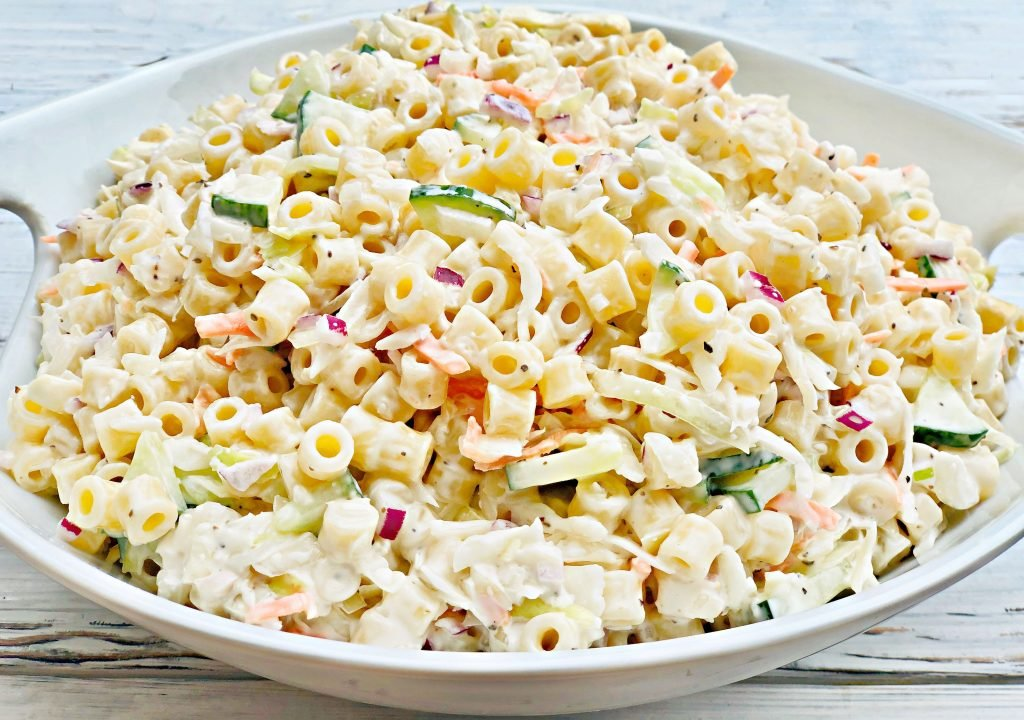 Coleslaw Pasta Salad -An easy, make-ahead side dish recipe perfect for backyard barbecues, potlucks, and holiday gatherings!