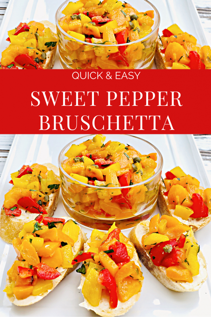 Colorful bell peppers are marinated with olive oil, white balsamic vinegar, capers, and Italian flat-leaf parsley for a quick and easy appetizer perfect for entertaining.