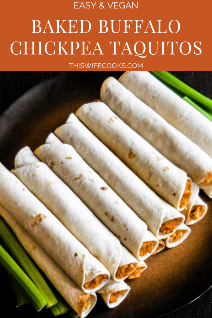 Baked Buffalo Chickpea Taquitos | Perfect finger food for casual get-togethers or snacking on game day! Ready to serve 30 minutes or less, these baked taquitos are super easy to make and always a hit!