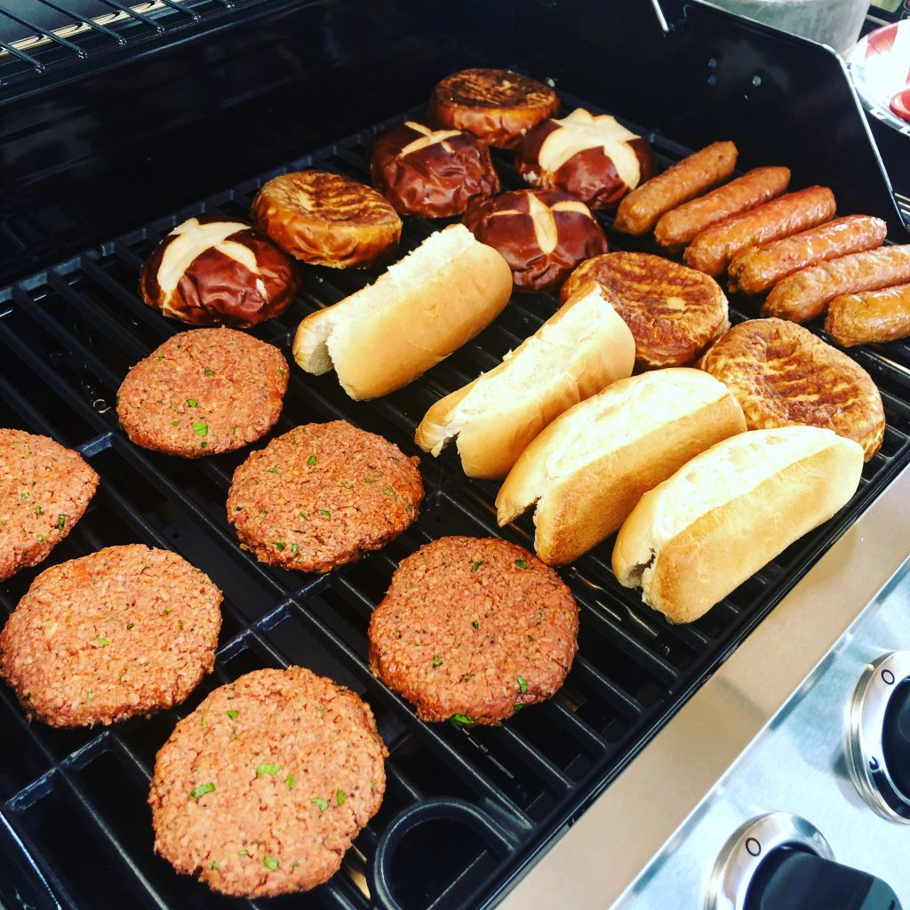 Vegan Burgers and brats on the grill!