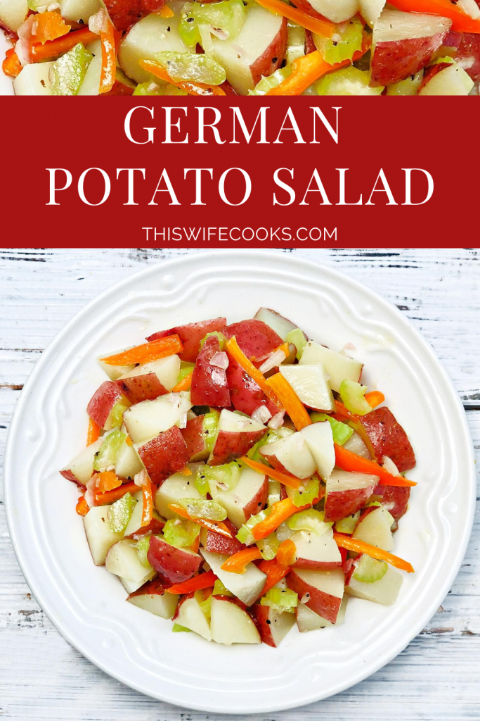 German Potato Salad ~ A tangy Dijon and vinegar-based potato salad made with baby red potatoes, celery, shallot, and sweet bell peppers. Ready to serve in 20 minutes or less!