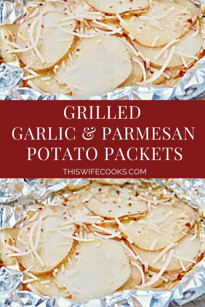 Grilled Garlic and Parmesan Potato Packets ~ Grilled potato foil packets are perfect for camping! They're portable and can be prepped in minutes. You can even assemble the packets a day in advance before putting them on the grill.