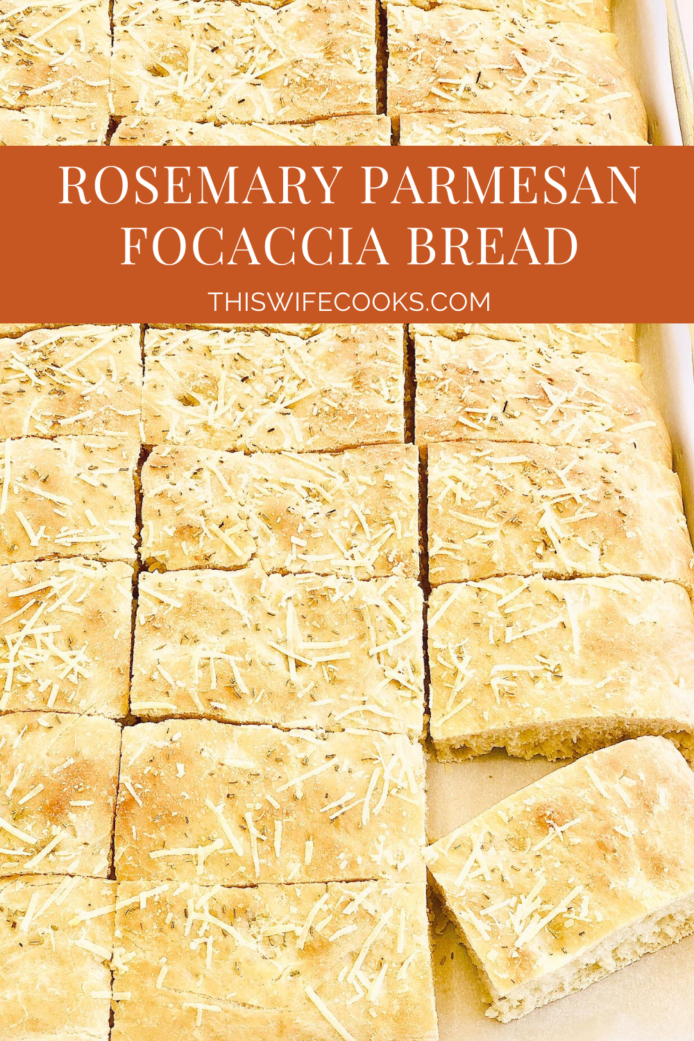 Rosemary Parmesan Focaccia Bread - Simple and super easy to make, this versatile flatbread pairs perfectly with all kinds of pasta dishes, soups, and salads. It's also delicious as sandwich bread! via @thiswifecooks