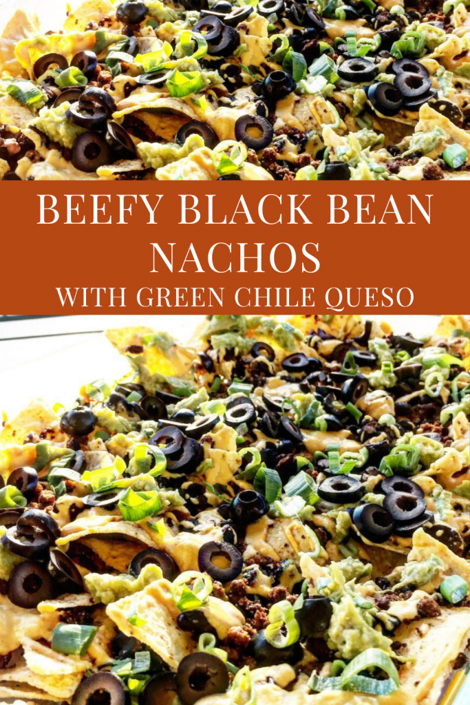 Beefy Black Bean Nachos ~ Easy to make and always a crowd-pleaser! These loaded vegan nachos drizzled with dairy-free Green Chile Queso are perfect for game day snacking.