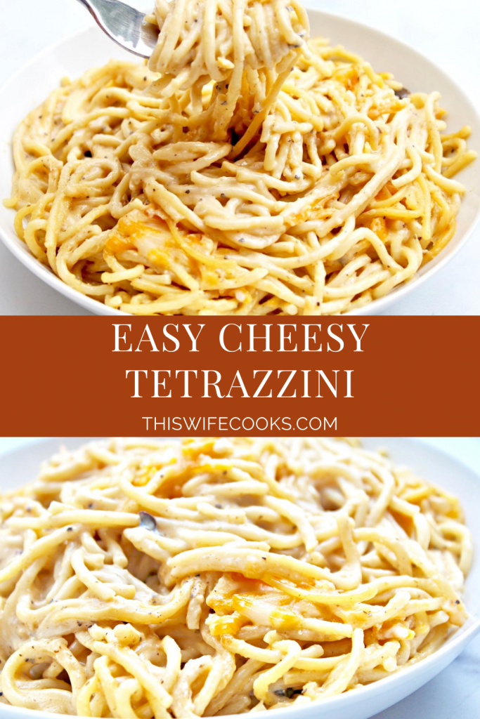 Easy Cheesy Tetrazzini ~ Spaghetti pasta tossed in a rich and creamy, dairy-free cheese sauce then baked for an ultra comforting casserole the whole family will love. This kid-friendly pasta bake is ready to serve in about an hour.