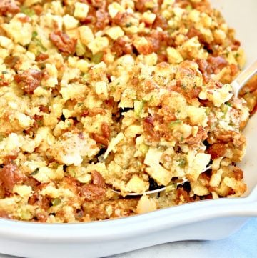 Sausage Stuffing ~  Upgrade store-bought stuffing mix with fresh veggies and plant-based sausage. This savory classic Thanksgiving side dish is ready to serve in about 30 minutes.