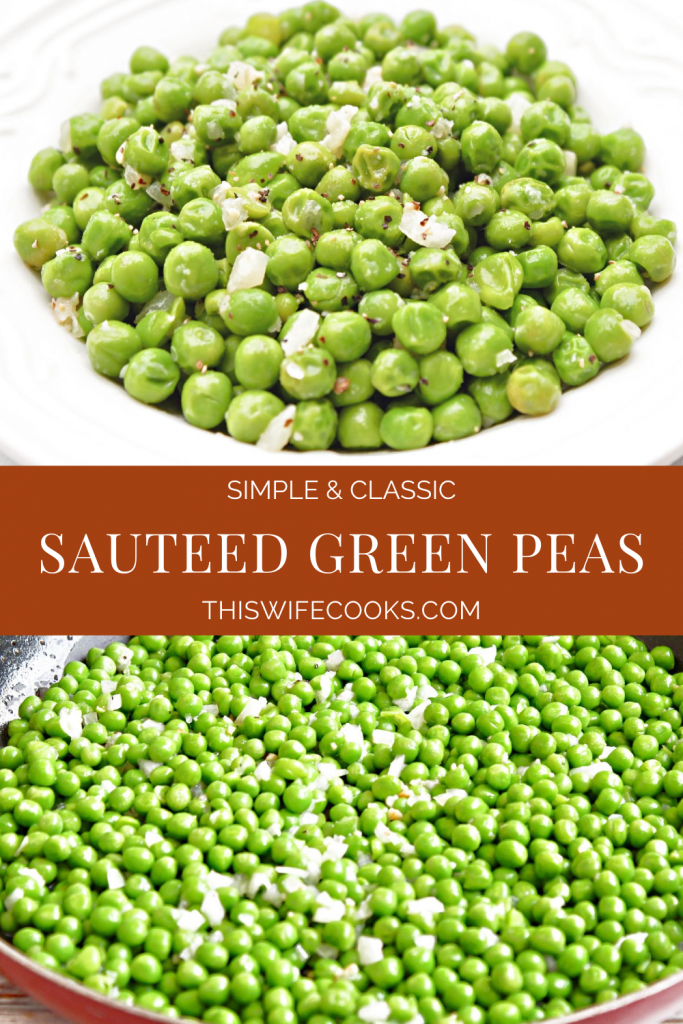 Green Peas ~ Boost the flavor of a bag of frozen peas with sauteed onions, garlic, and simple seasonings. An easy and classic side dish that works with a variety of cuisines.
