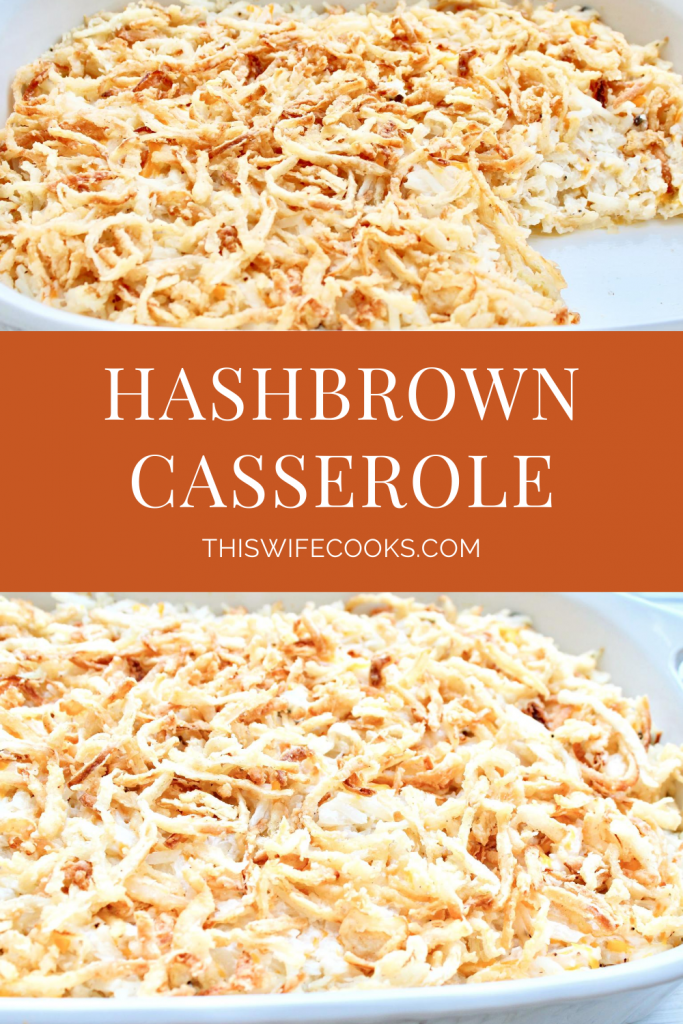 The classic breakfast casserole! Shredded hashbrown potatoes baked in a creamy sauce then topped with fresh and crispy fried onions.