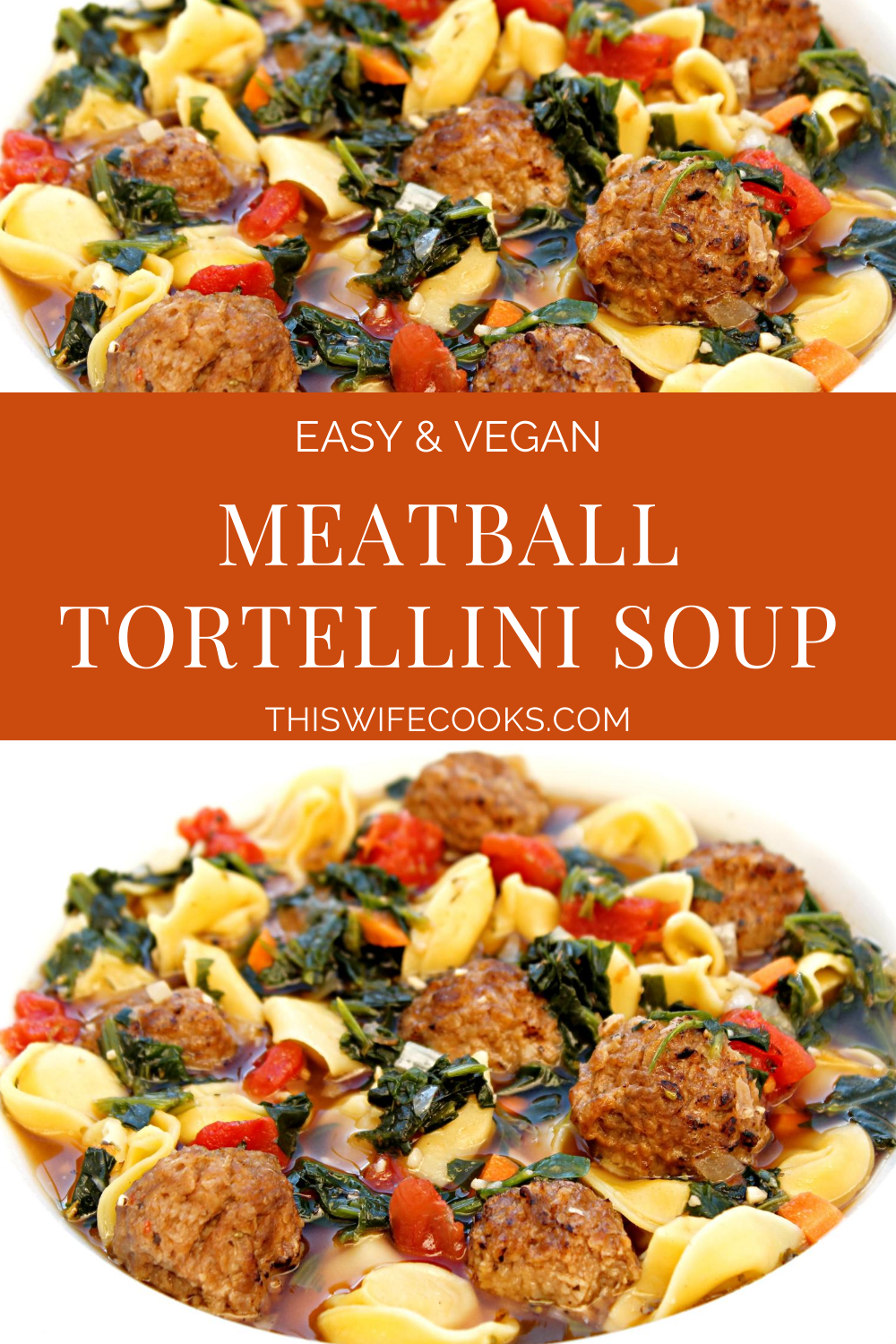 Meatball Tortellini Soup ~Veggie meatballs and dairy-free cheese-filled tortellini served in a savory and meatless beef-style broth with carrots, onion, garlic, spinach, tomatoes, and seasonings. This is a simple yet robust and flavorful soup that is quick and easy to make in 30 minutes or less! via @thiswifecooks