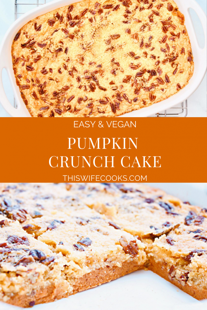 Pumpkin Crunch Cake ~ Creamy pumpkin pie with a buttery cake topping. This easy make-ahead dessert is perfect for holidays and potlucks!