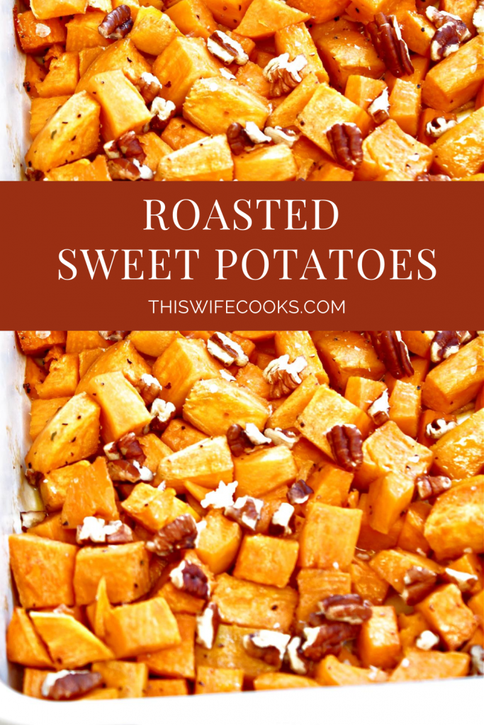 Roasted Sweet Potatoes ~Bite-site chunks of sweet potatoes roasted with olive oil and maple syrup are lightly crisp on the outside and soft on the inside. Sea salt, ground black pepper, and toasted pecans add savory balance to this naturally sweet fall seasonal favorite. Ready to serve in under an hour and make an easy and flavorful side dish for Thanksgiving or Christmas dinner.