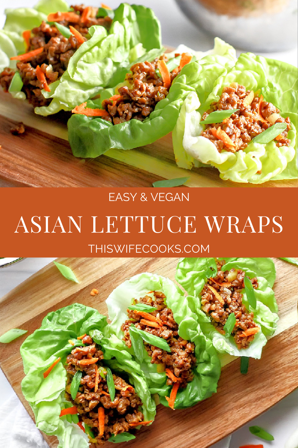 Asian Lettuce Wraps ~ Skip the takeout line and serving up this easy and tasty plant-based dish right in the comfort of your own home! via @thiswifecooks