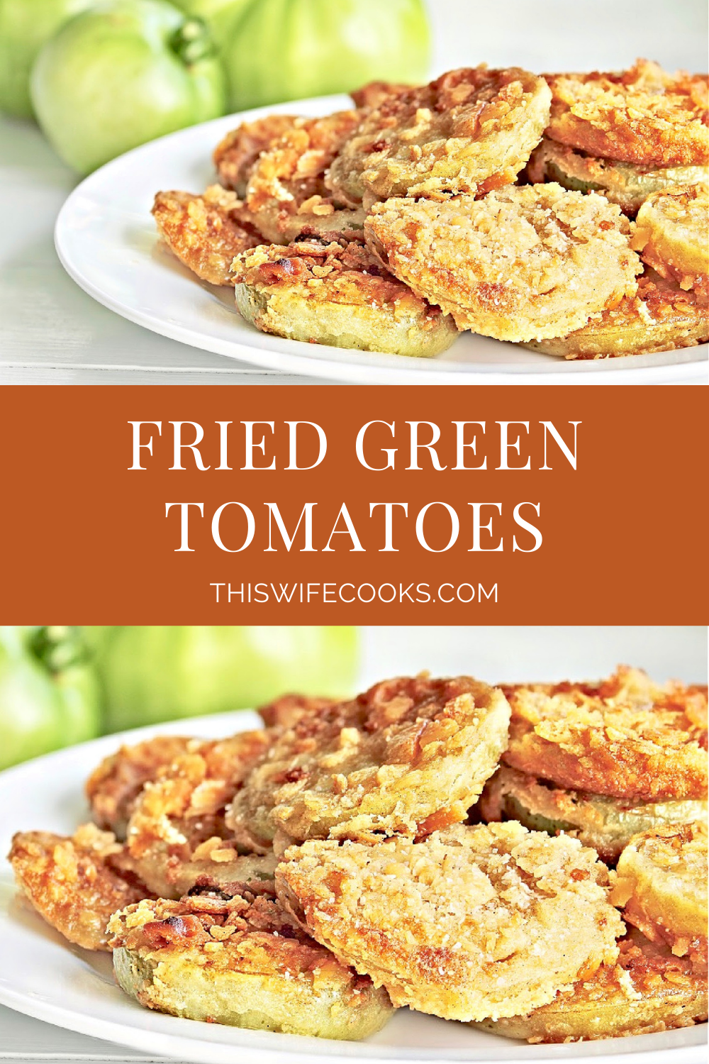 Fried Green Tomatoes ~The Southern clasic made with all plant-based ingredients! Fresh and pleasantly tart green tomatoes are batter-coated and pan-fried until soft on the inside and perfectly crispy on the outside. Cajun seasoning adds a Louisiana-style kick!  via @thiswifecooks