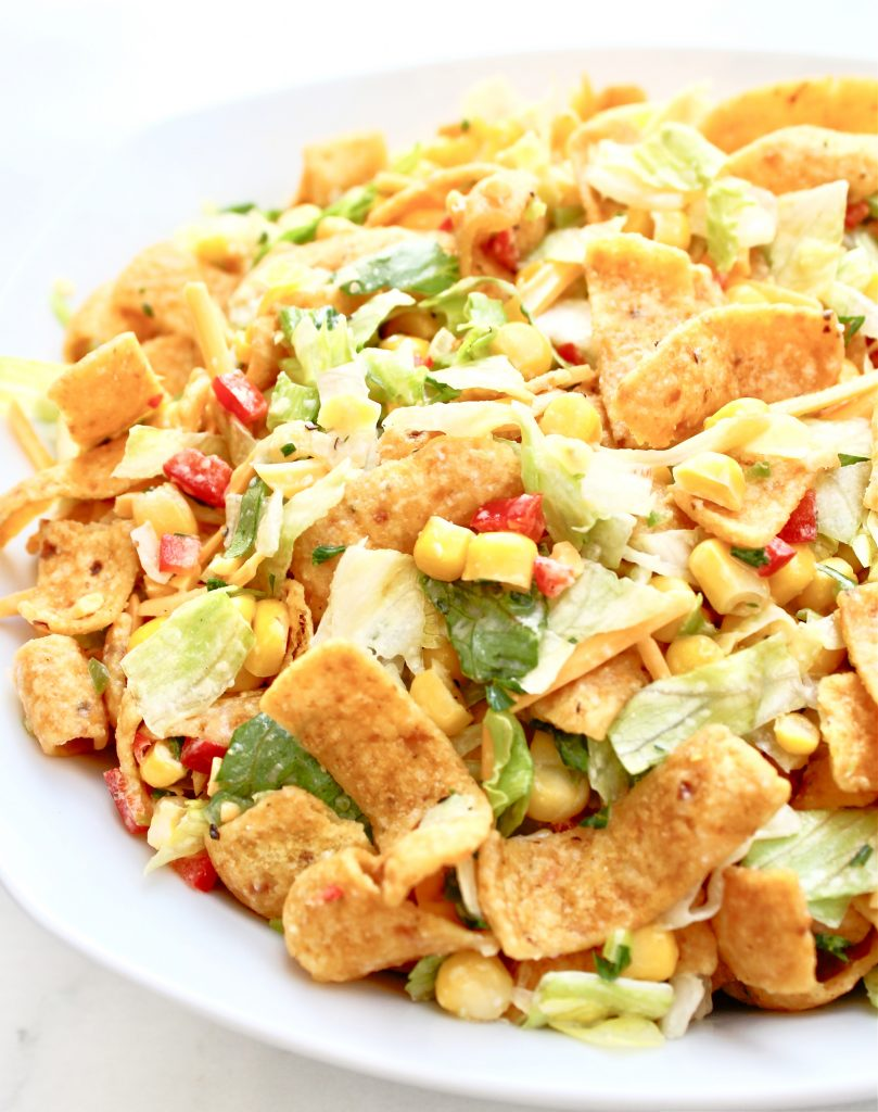 Corn Chip Taco Salad ~ This classic summer salad is great for casual dinners and potlucks. Ready to serve in about an hour.