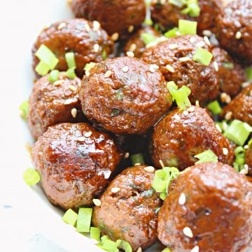 Vegan Teriyaki Meatballs ~ 5-ingredient plant-based meatballs in homemade teriyaki sauce. An easy main dish over rice or game day appetizer!