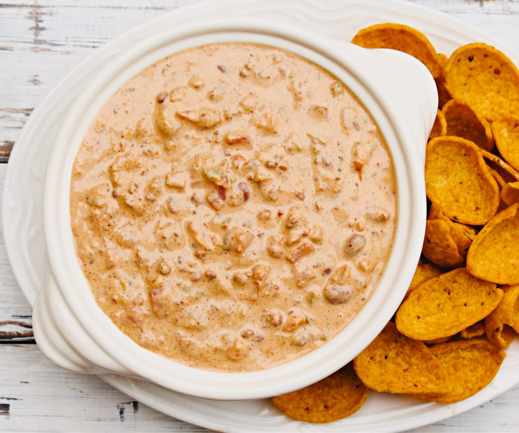 Chili Dip ~ Need a quick and easy game day or movie night snack? This crowd-pleasing dip is ready to serve in 10 minutes or less!