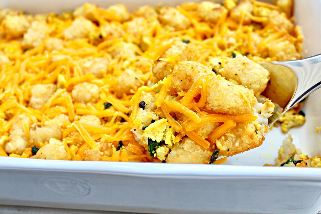 Tater Tot Breakfast Casserole ~ This breakfast casserole is made for weekend and holiday mornings! So easy to prep ahead of time then pop in the oven to bake while everyone is waking up.