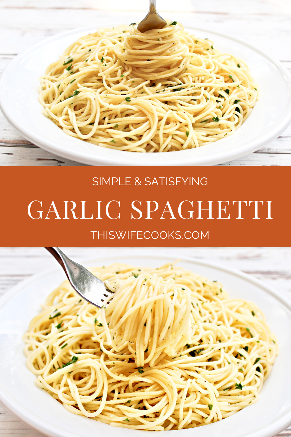 Garlic Spaghetti ~ 15 minutes and six simple ingredients. This quick and easy, one-pot, budget-friendly pasta dinner is perfect for busy days! via @thiswifecooks