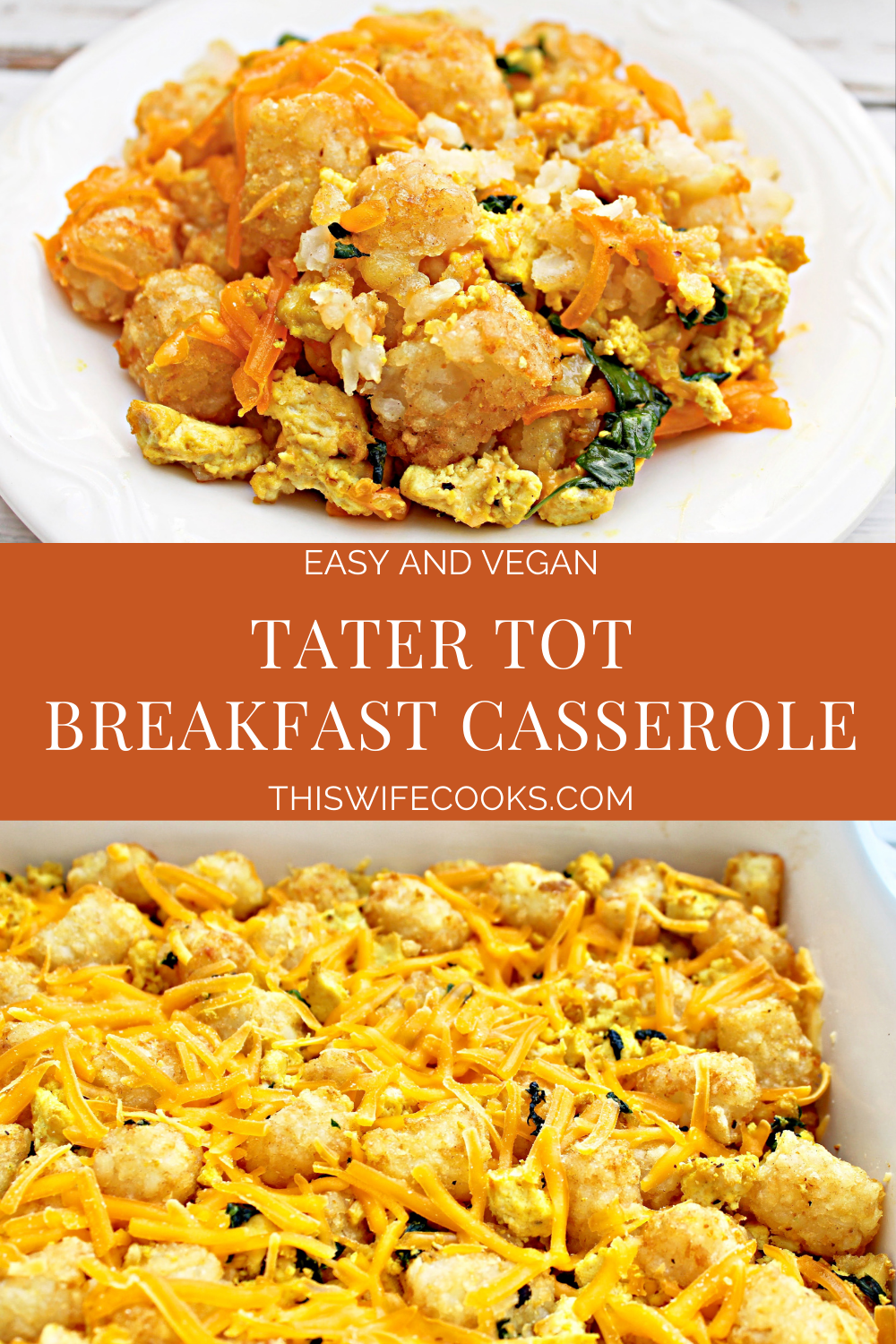 Tater Tot Breakfast Casserole ~ This breakfast casserole is made for weekend and holiday mornings! Easy to prep ahead and bake in the morning. via @thiswifecooks