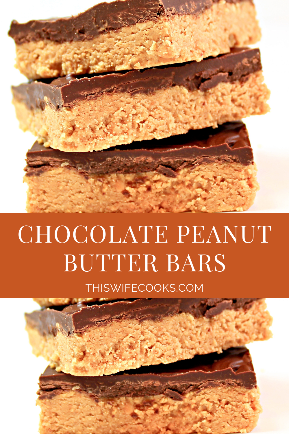 Chocolate Peanut Butter Bars ~ 5 ingredients! If you like Reese's peanut butter cups, you are going to love this easy, homemade, no-bake version of the classic candy!  via @thiswifecooks
