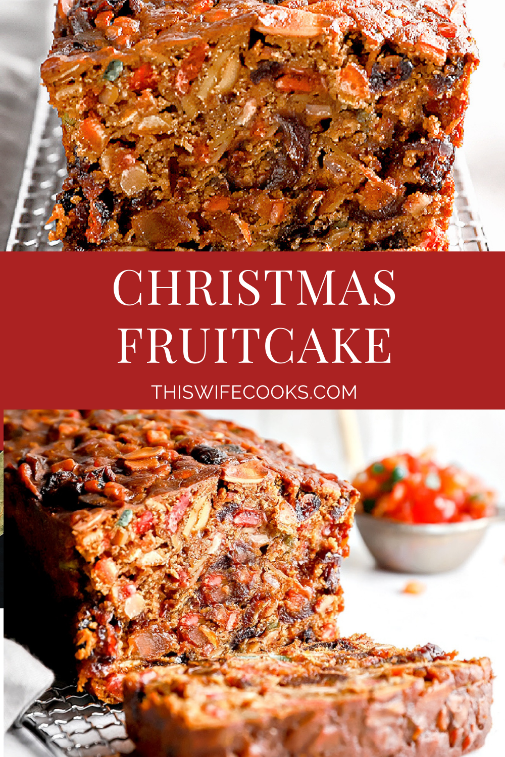 This classic Old English style fruitcake is rich, easy to make, and perfect for the holiday season! via @thiswifecooks