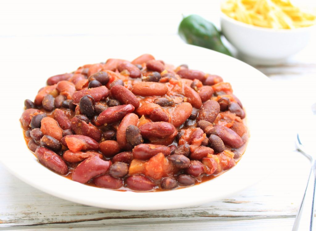 Three Bean BBQ Chili ~ This hearty and healthy chili is packed with protein and ready to serve in about an hour.