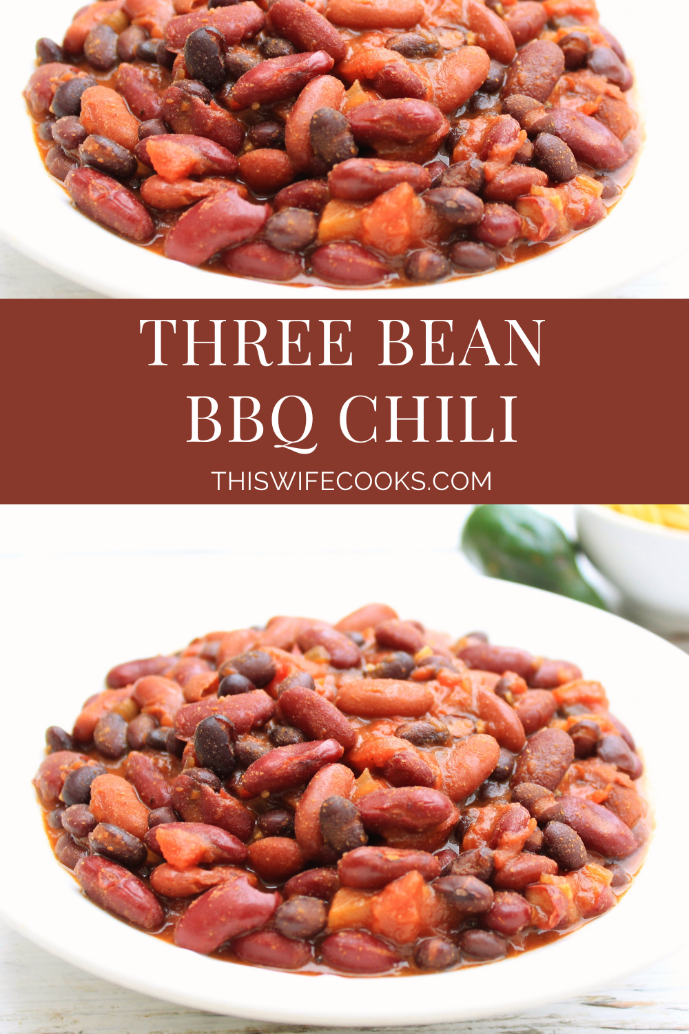 Three Bean BBQ Chili ~ This hearty and healthy chili is packed with protein and ready to serve in about an hour. via @thiswifecooks