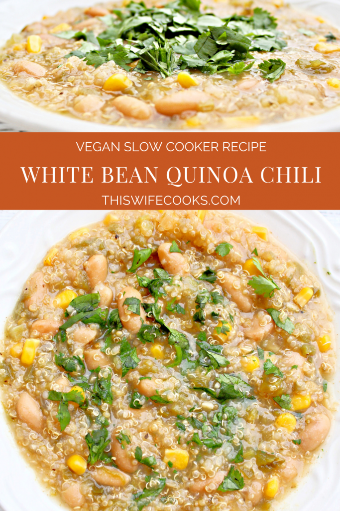 White Bean Quinoa Chili ~ This hearty and healthy crockpot chili is simple to make and loaded with good-for-you, budget-friendly ingredients!