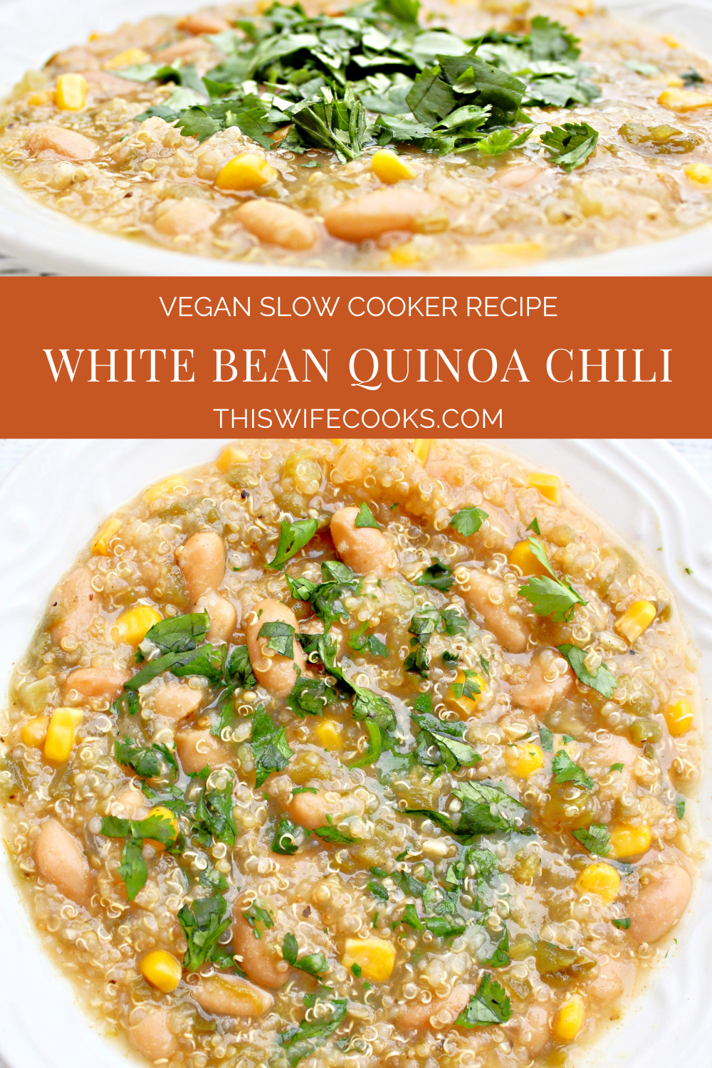 White Bean Quinoa Chili ~ This hearty and healthy crockpot chili is simple to make and loaded with good-for-you, budget-friendly ingredients! via @thiswifecooks