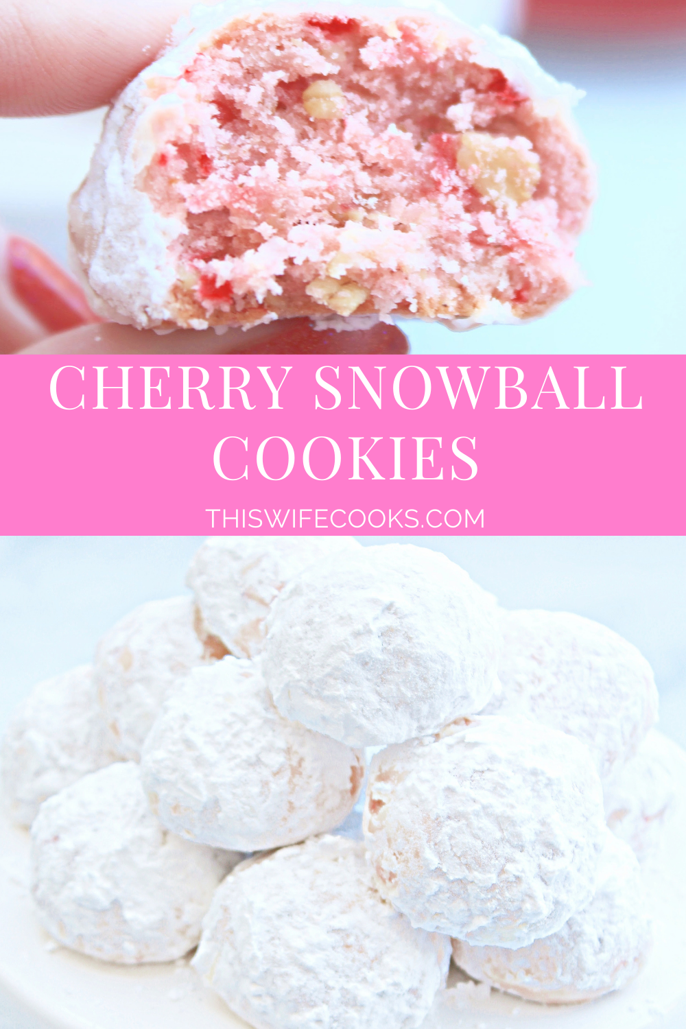Vegan Cherry Snowball Cookies ~ These fun and festive dairy-free cookies are so easy to make and melt in your mouth! via @thiswifecooks