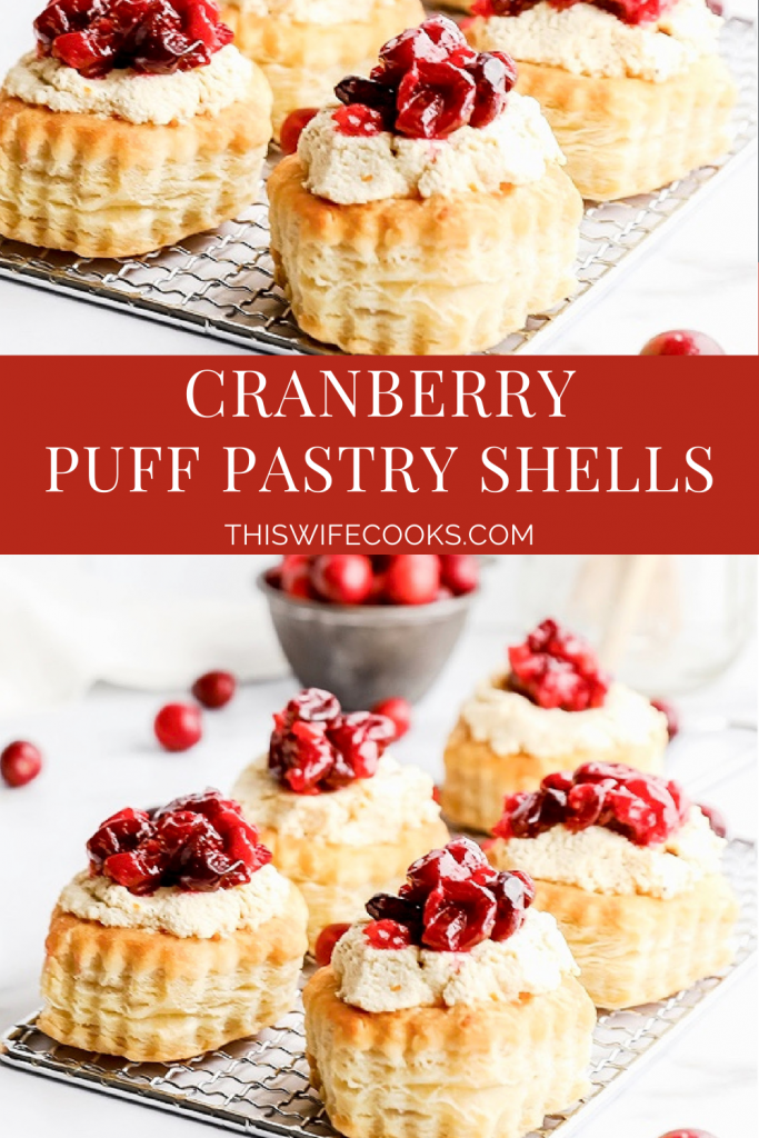 Cranberry Puff Pastry Shells ~ Baked puff-pastry shells filled with homemade, orange-infused tofu ricotta and tangy, sweet-roasted cranberries are a tasty treat that is both easy and elegant.