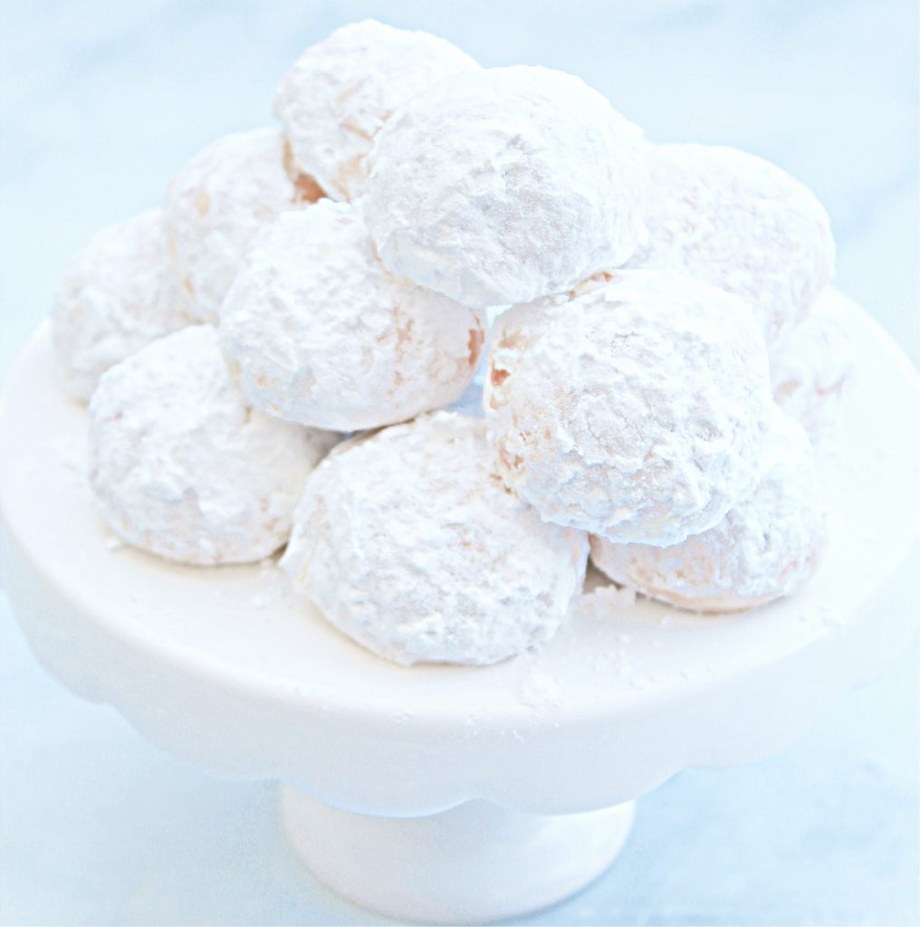 Vegan Cherry Snowball Cookies ~ These fun and festive dairy-free cookies are so easy to make and melt in your mouth!