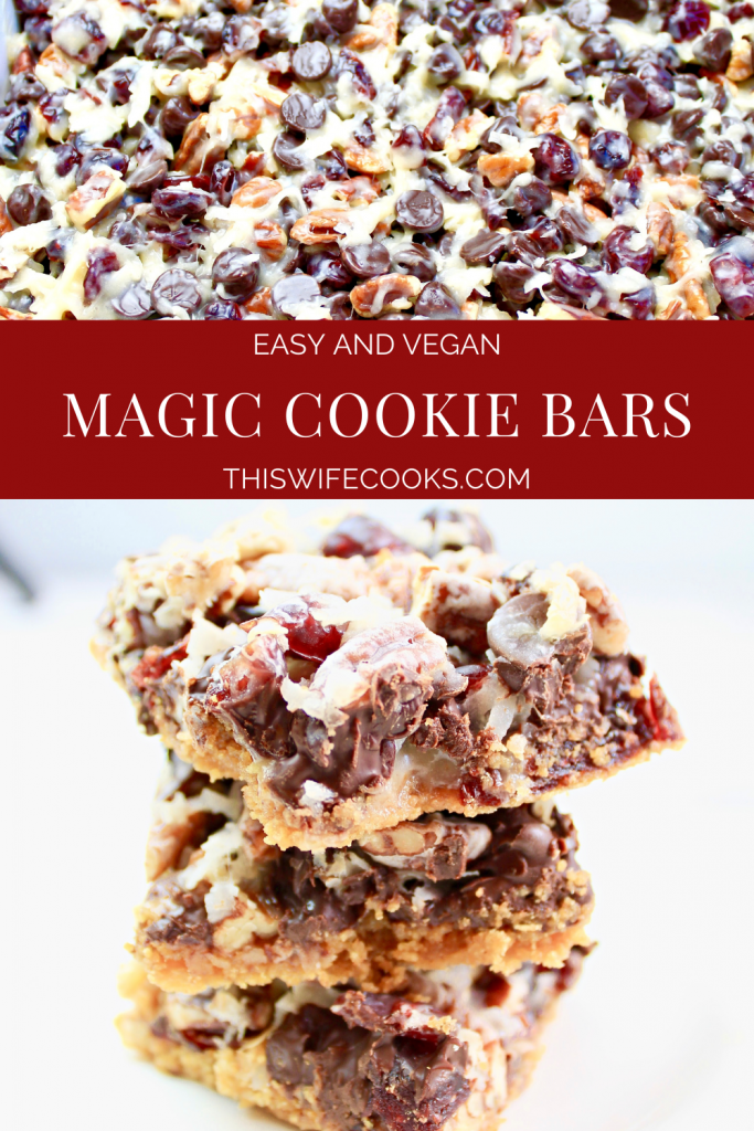 Magic Cookie Bars ~7 ingredients are all you need to make this dairy-free and vegan holiday dessert classic!