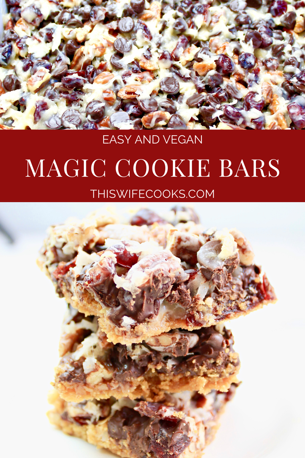 Magic Cookie Bars ~7 ingredients are all you need to make this dairy-free and vegan holiday dessert classic! via @thiswifecooks