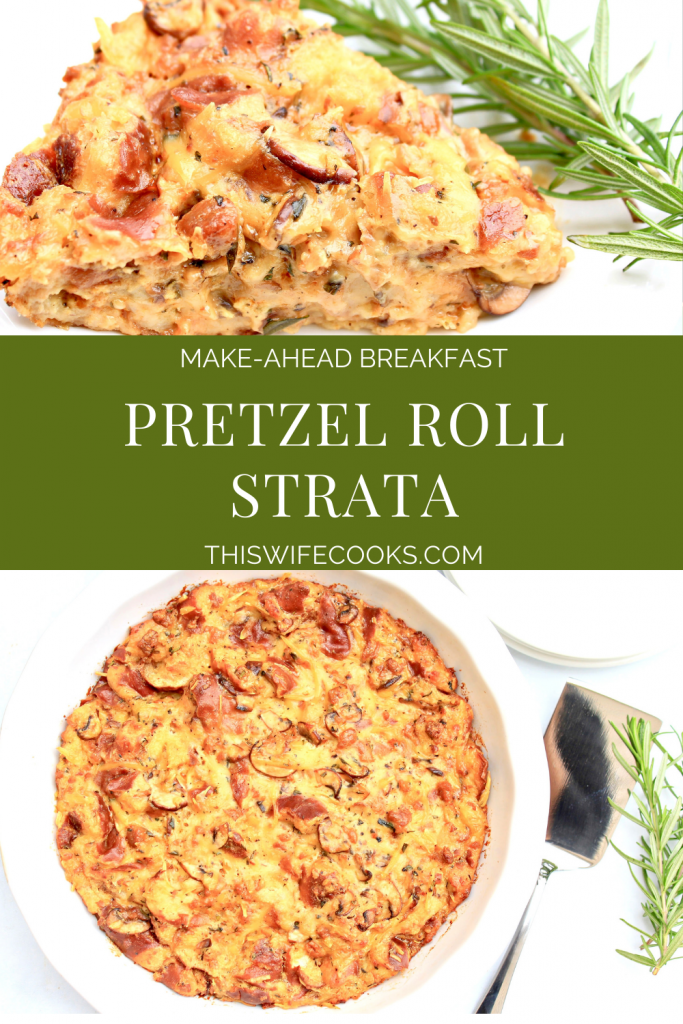 Pretzel Roll Strata ~ This easy, make-ahead casserole is perfect for a weekend breakfast or holiday brunch! Cubed pretzel roll bread is combined with plant-based sausage, onions, mushrooms, garlic, fresh herbs, and vegan cheese then baked to savory perfection in creamy dairy-free custard.