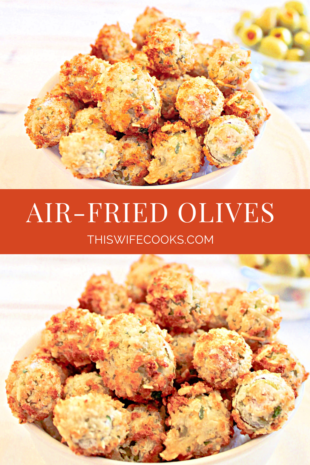 Air Fried Olives ~ Pimento-stuffed green olives are coated in batter then air fried for a healthier alternative to traditional pan-fried olives. A quick and easy appetizer ready to serve in about 15 minutes! via @thiswifecooks