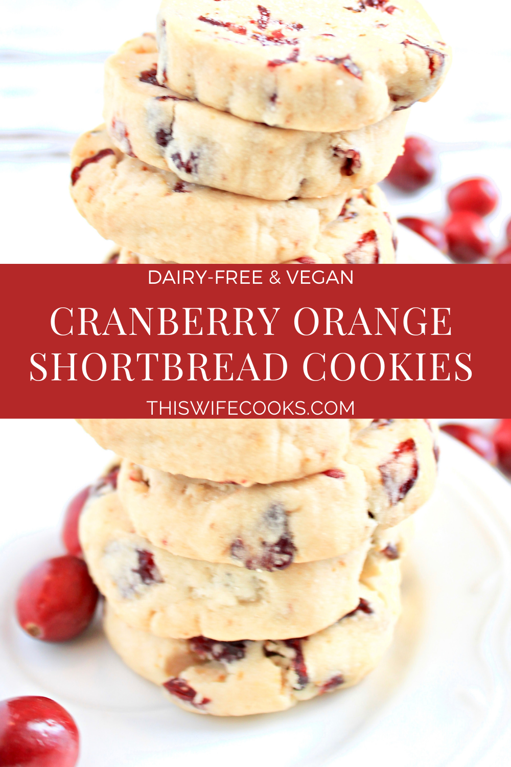 Cranberry Orange Shortbread Cookies ~ Classic fall and holiday flavors in a buttery, easy to make, slice and bake cookie. Perfect for gifting! via @thiswifecooks