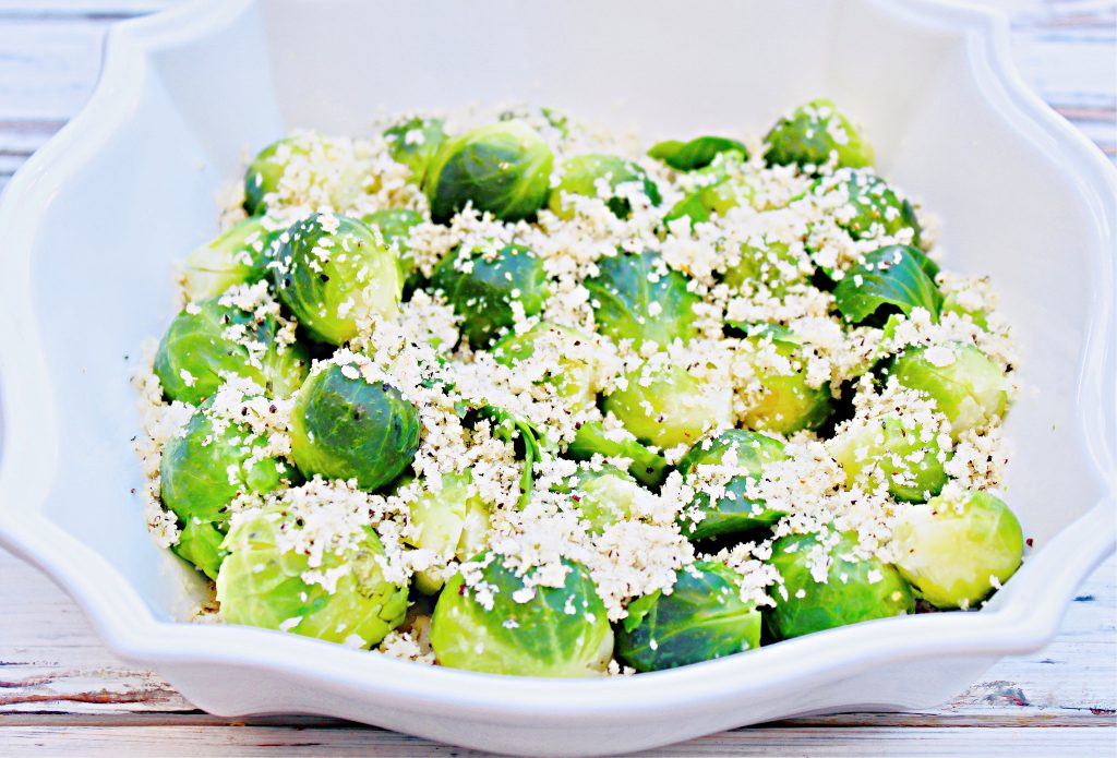 Brussels Sprouts with Toasted Bread Crumbs ~ Perfect for holiday dinners! This easy and delicious side is ready to serve in about 20 minutes!