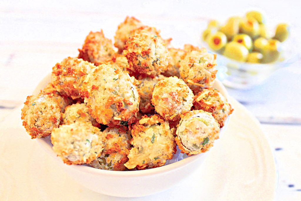 Air Fried Olives ~ Pimento-stuffed green olives are coated in batter then air fried for a healthier alternative to traditional pan-fried olives. A quick and easy appetizer ready to serve in about 15 minutes!