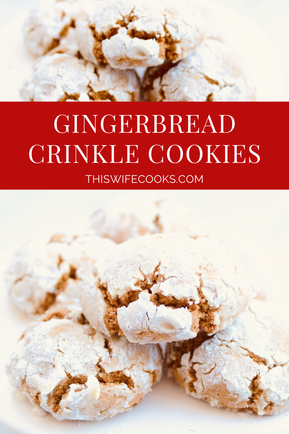Gingerbread Crinkle Cookies ~ Santa is going to love these gingerbread cookies! They're rich with classic gingerbread flavor, pillowy soft, perfectly spiced, and taste like Christmas! via @thiswifecooks