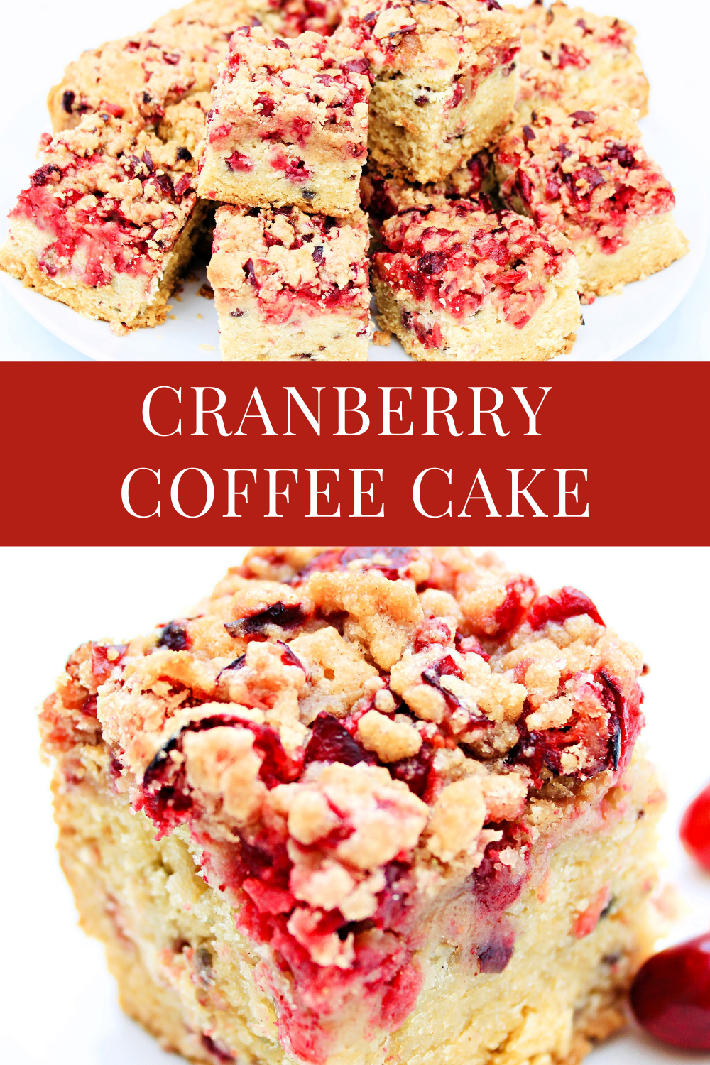 Cranberry Coffee Cake ~ A light vanilla coffee cake made with fresh, tart cranberries and a cranberry streusel topping. Perfect for holiday brunches, baby showers, and coffee or tea time at home! via @thiswifecooks