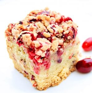 Cranberry Coffee Cake ~ A light vanilla coffee cake made with fresh, tart cranberries and a cranberry streusel topping. Perfect for holiday brunches, baby showers, and coffee or tea time at home!
