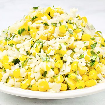 Corn and Cilantro Cauliflower Rice ~ An easy low-carb dish that is light, flavorful, and ready to serve in 15 minutes or less!