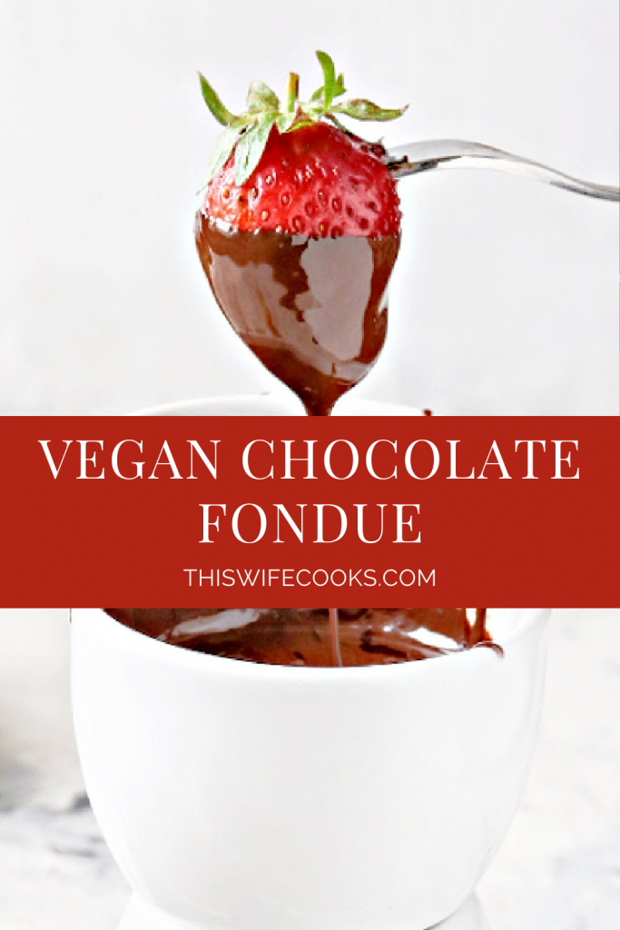 Vegan Chocolate Fondue - Decadent and dairy-free! Simple to make for a fun interactive family dessert or date night experience at home.